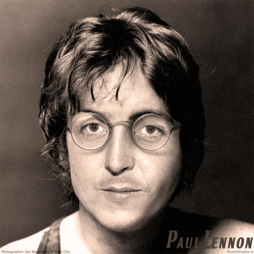"""""""Paul Lennon"""" – Lennon McCartney Face Mashup inPhotoshop"""