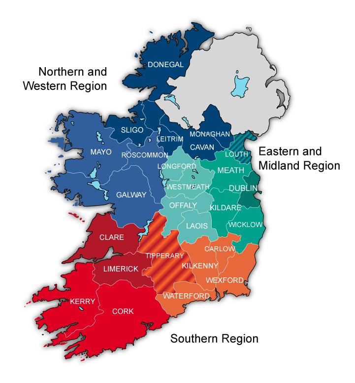 Ireland Regions MapVector