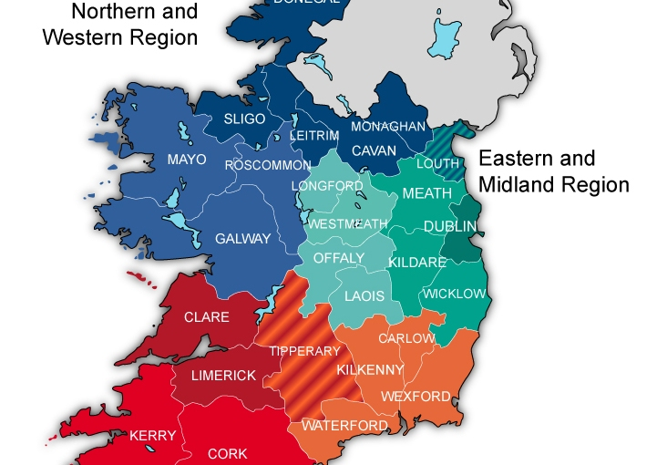 Ireland Regions Map Vector