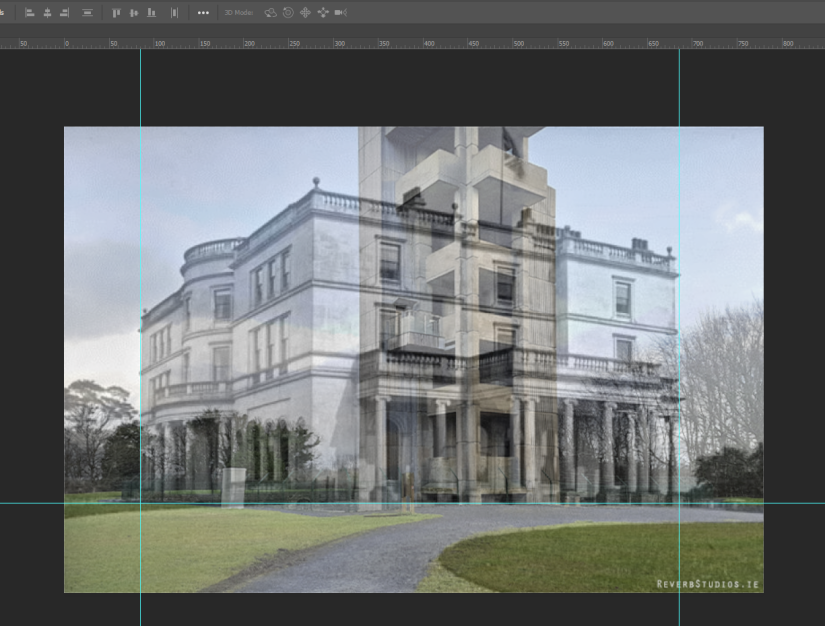 Rockingham House, Lough Key, Boyle: Then & Now Photoshop